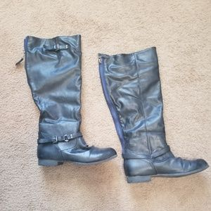 Shoes - Black Pleather Riding Boots